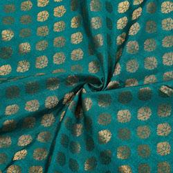 Green Golden Polka Chanderi Zari Silk Fabric-12231