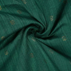 Green Golden Polka Rayon Fabric-16222