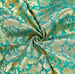 Green Golden Warli Brocade Silk Fabric-12536