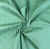 Green Golden Zari Dot Silk Fabric-9491