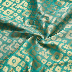 Green Golden Zig-Zag Brocade Silk Fabric-12550