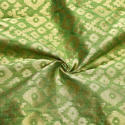 Green Golden Zig-Zag Brocade Silk Fabric-12551