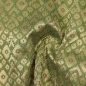 Green Golden Zig Zag Jacquard Brocade Silk Fabric-9124