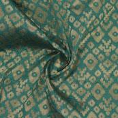 Green Golden Zig Zag Jacquard Brocade Silk Fabric-9168