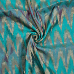 Green Golden Zig-zag Brocade Silk Fabric-12091