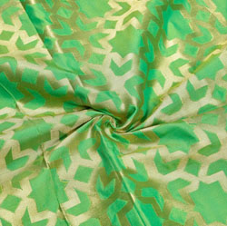 Green Golden Zig-zag Brocade Silk Fabric-12336
