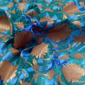 Green-Golden and Blue Flower Design Kota Doria Fabric-6032