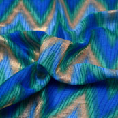 Green-Golden and Blue Zig Zag Pattern Kota Doria Fabric-6023