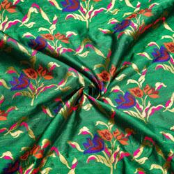 Green Golden and Orange Floral Banarasi Silk Fabric-12005