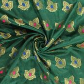 Green Golden and Pink Banarasi Silk Fabric-8949