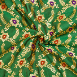 Green Golden and Red Floral Brocade Silk Fabric-12534