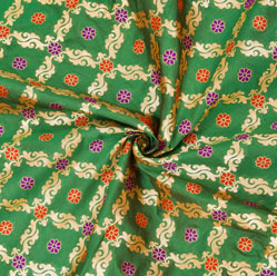 Green Golden and Red Floral Brocade Silk Fabric-12578