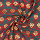 Green Golden and Red Floral Jacquard Brocade Silk Fabric-9148