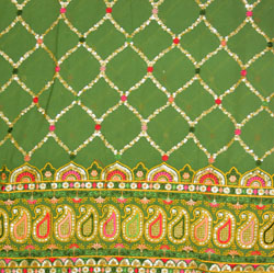 Green Golden and Red Panel Work Georgette Embroidery Fabric-19390