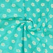 Green-Silver and White Floral Design Chanderi Silk Fabric-9019