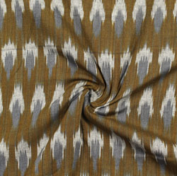 Green Gray and White Ikat Cotton Fabric-11018