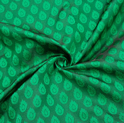 Green Green Paisley Brocade Silk Fabric-12526