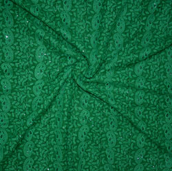 Green Lakhanvi Chikan Work Georgette Embroidery Fabric-19363
