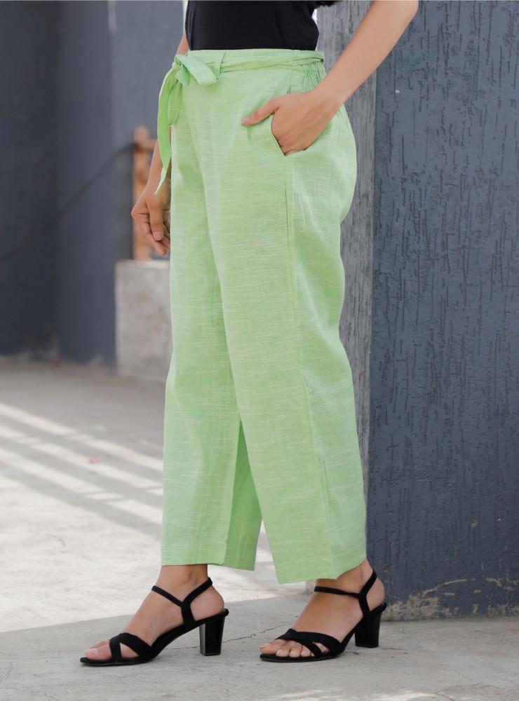 Green Linen Slub Silk Women Pant with Loose Belt-33233