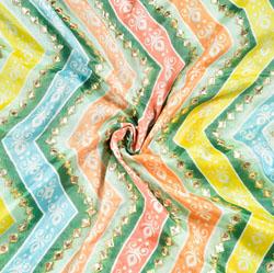 Green MultiColor Digital Position Print Chinon Embroidery Fabric-19304