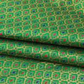 Green Multicolor Floral Jacquard Brocade Silk Fabric-9120