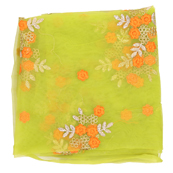 Green Net Fabric With Golden and Orange Flower Embroidery-60822