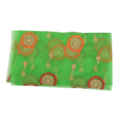 Green Net Fabric With Orange and Red Circular Embroidery-60527