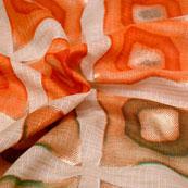 Green-Orange and Beige Unique Pattern Kota Doria Fabric-6016