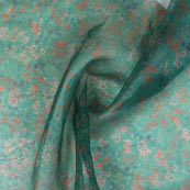 Green Peach and White Digital Organza Silk Fabric-51665