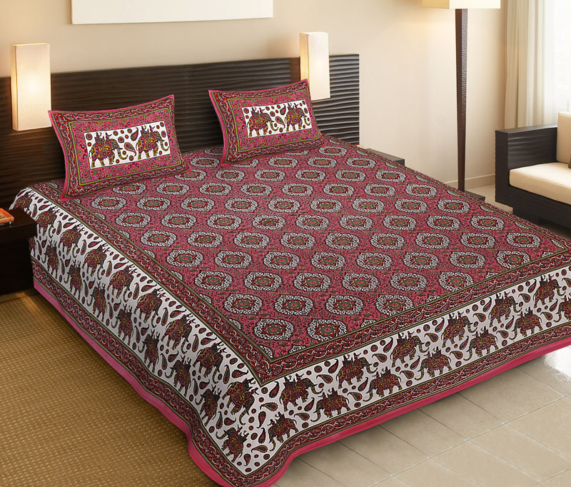 Green Pink Cotton Jaipuri Bedsheet-532
