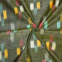 Green Pink and Cyan Ikat Cotton Fabric-11151