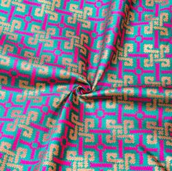 Green Pink and Golden Zig-Zag Brocade Silk Fabric-12461