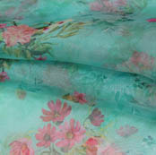 Green Pink and Green Digital Floral Organza Silk Fabric-51759