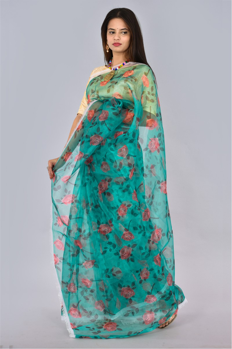 Green Pink and Green Organza Digital Printed Saree-36202