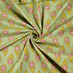 Green Pink and White Floral Block Print Cotton Fabric-28539