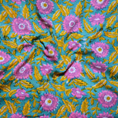 Green Pink and Yellow Block Print Cotton Fabric-14633