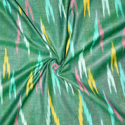 Green Pink and Yellow Ikat Cotton Fabric-11168