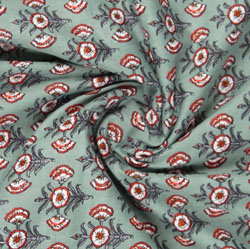 Green Red Block Print Cotton Fabric-16014
