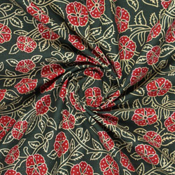 Green Red Block Print Cotton Fabric-16030