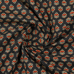 Green Red Block Print Cotton Fabric-16117