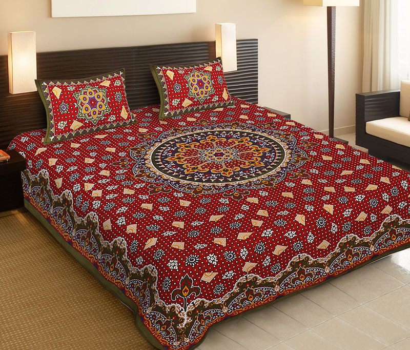 Green Red Cotton Jaipuri Bedsheet-526