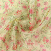 Green Red Digital Organza Silk Fabric-51570
