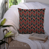 Green-Red and Black Cotton Cushion Cover-35029