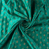 Green Red and Blue Floral Satin Brocade Silk Fabric-9477