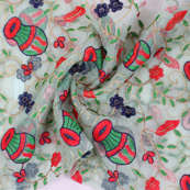 Green-Red and Blue Flower Organza Embroidery Fabric-51416