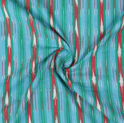 Green Red and White Ikat Cotton Fabric-11052