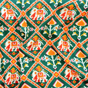 Green Red and Yellow Elephant Crepe Silk Fabric-18222