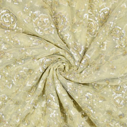 Green Silver Flower Net Embroidery Fabric-19160