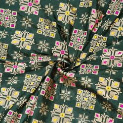 Green Silver and Yellow Star Banarasi Silk Fabric-12551