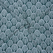 Green White Block Print Cotton Fabric-14737